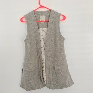 Anthropologie Long Wool Vest